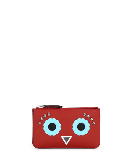 Faces Leather Key Pouch, Red/Multi
