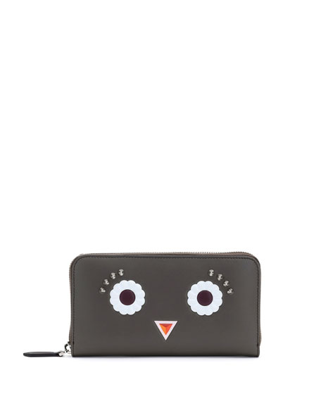 Fendi Faces Leather Zip-Around Wallet, Gray/Multi