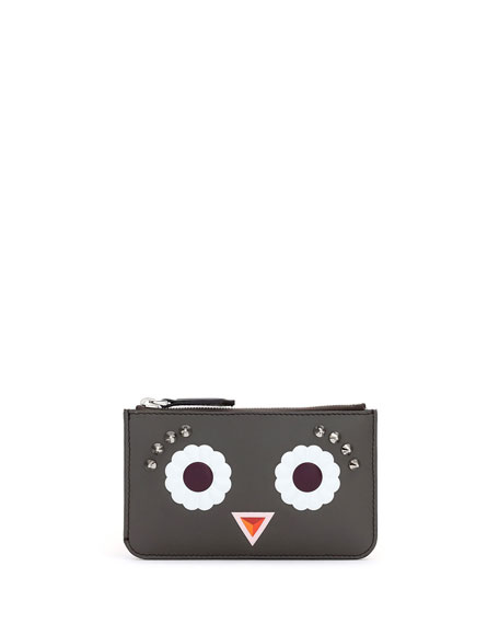 Fendi Faces Leather Key Pouch, Gray/Multi