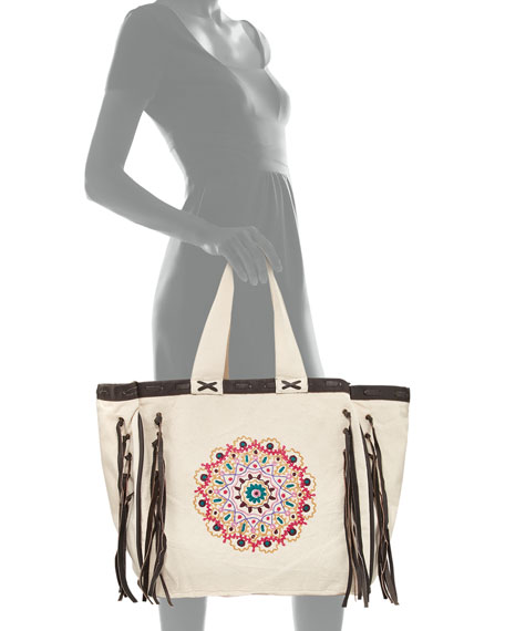 Mandala Beach Tote Bag, Beige