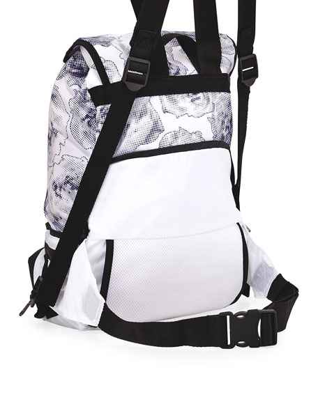 ee7763b84 adidas by Stella McCartney Run Convertible Printed Backpack,  White/Black/Blue   Neiman Marcus