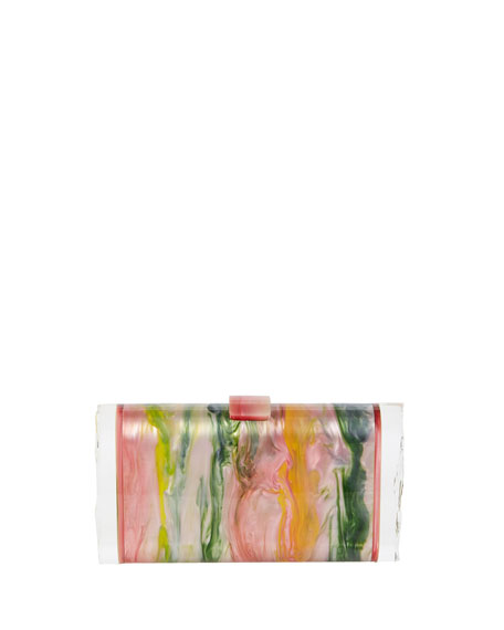 Edie Parker Lara Backlit Resin Clutch Bag, Pink/Multi