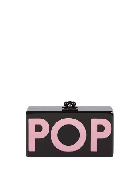 Jean Pop Resin Clutch Bag, Black
