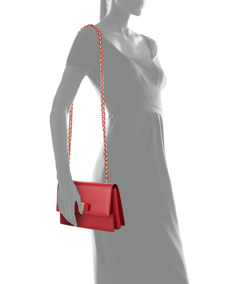 Ginny Medium Patent Shoulder Bag, Red