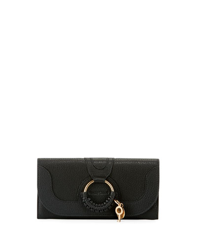 Long Front Flap Leather Wallet, Black