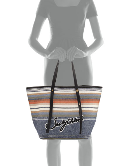Striped Logo Canvas Tote Bag