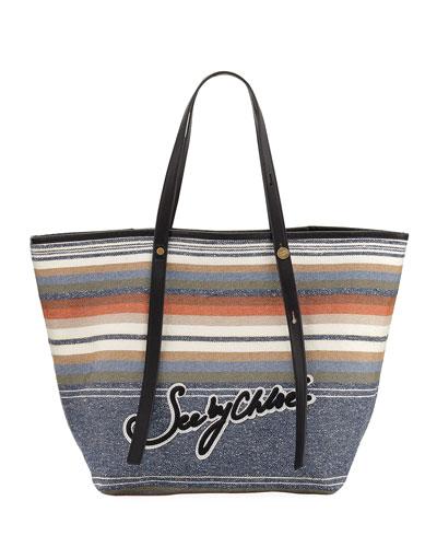 Striped Logo Canvas Tote Bag
