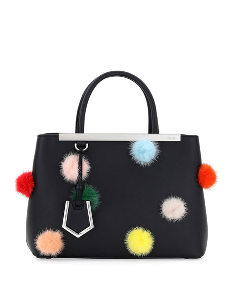 Fendi 2Jours Petite Leather + Fur Dots Satchel