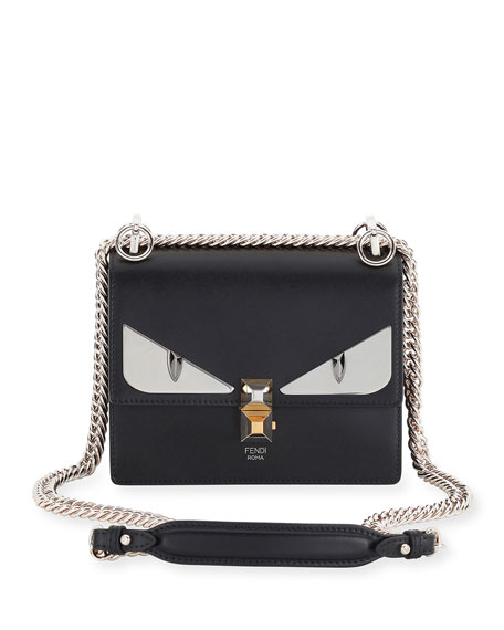 Fendi Kan I Monster Mini Leather Shoulder Bag, Black