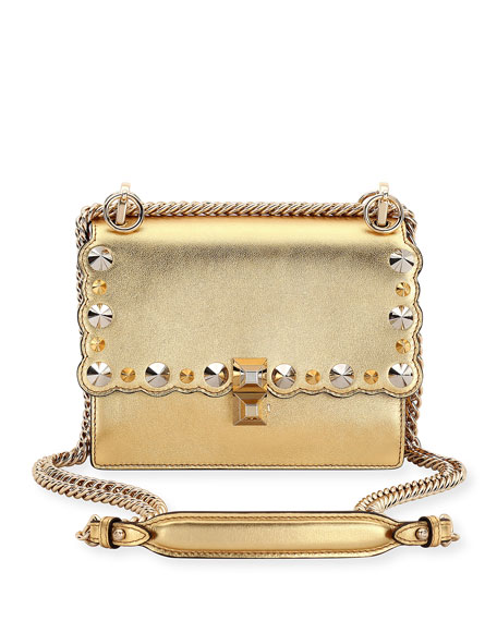 Kan I Mini Metallic Studded Chain Shoulder Strap, Gold