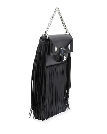 Baguette Monster Micro Fringe Shoulder Bag, Black