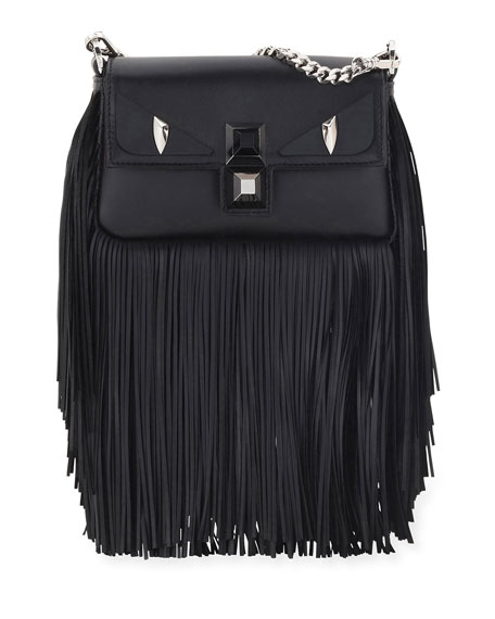 Fendi Baguette Monster Micro Fringe Shoulder Bag, Black