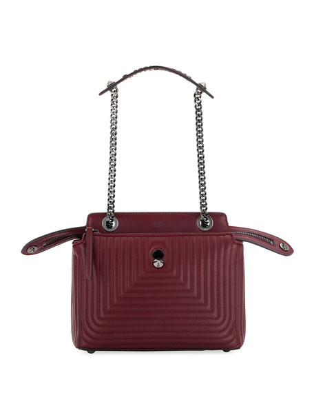 Fendi Dotcom Click Quilted Shoulder Bag, Red