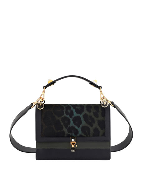 Fendi Kan I Leopard Print Calf Hair Bag
