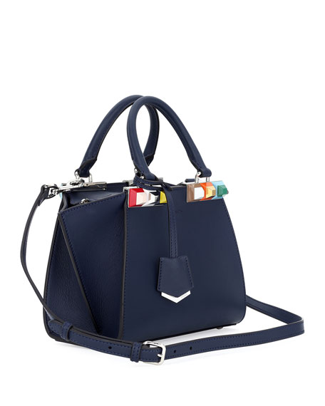3Jours Petite Leather Satchel Bag, Blue