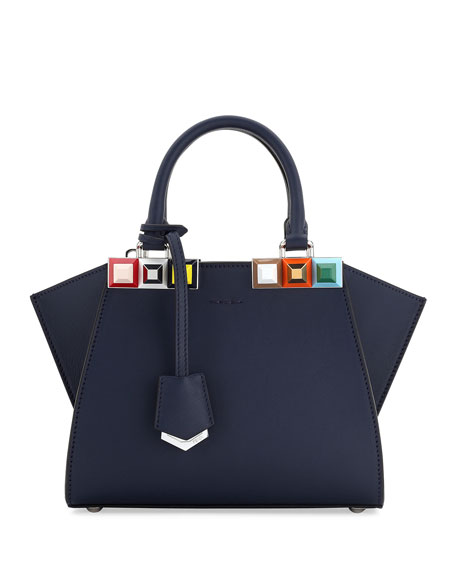 Fendi 2Jours Petite Leather Satchel Bag, Blue
