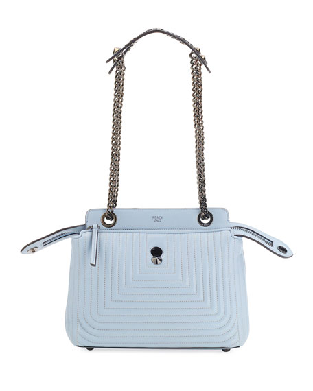 Fendi Dotcom Click Leather Shoulder Bag, Light Blue