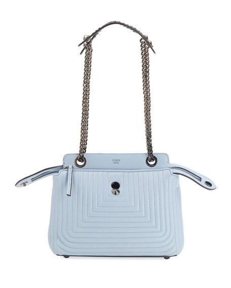 Dotcom Click Leather Shoulder Bag, Light Blue
