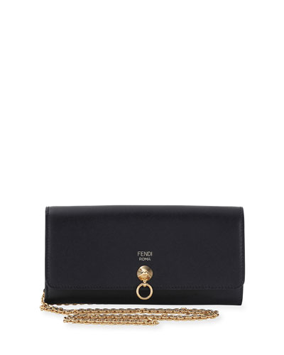 By The Way Continental Flap Wallet on a Chain, Black