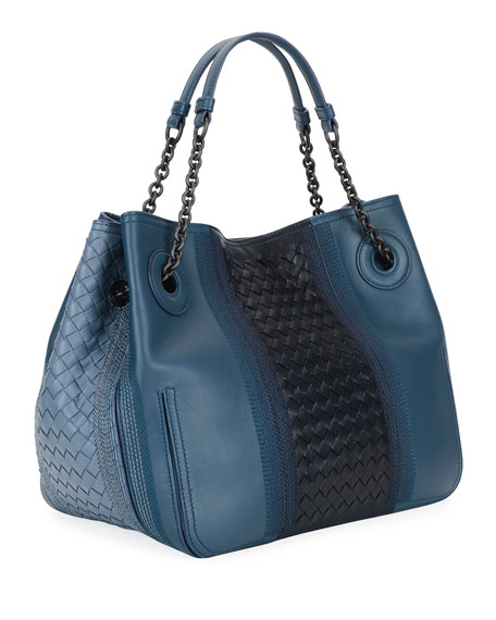 Double-Chain Intrecciato Tote Bag, Medium Blue