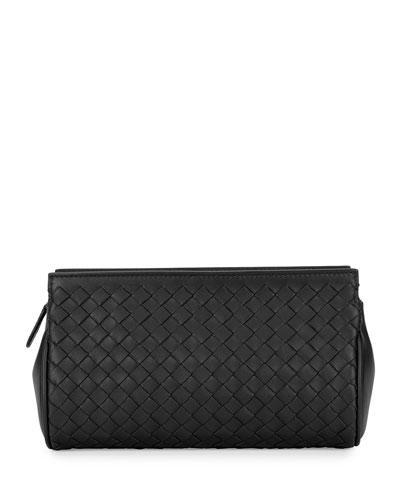 Woven Leather Zip Wallet, Black