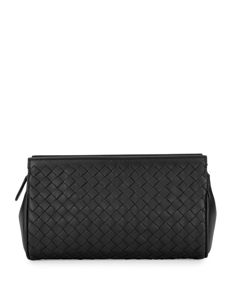 Bottega Veneta Woven Leather Zip Wallet, Black