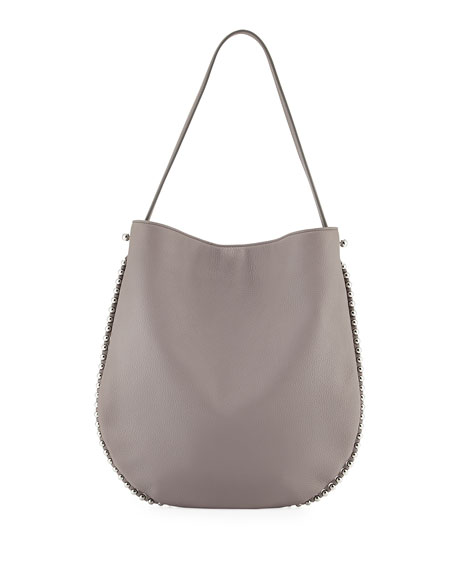 Alexander Wang Roxy Refined Pebbled Hobo Bag, Gray