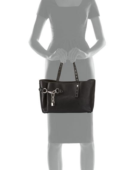 Lookbook Grained Leather Satchel Bag, Black