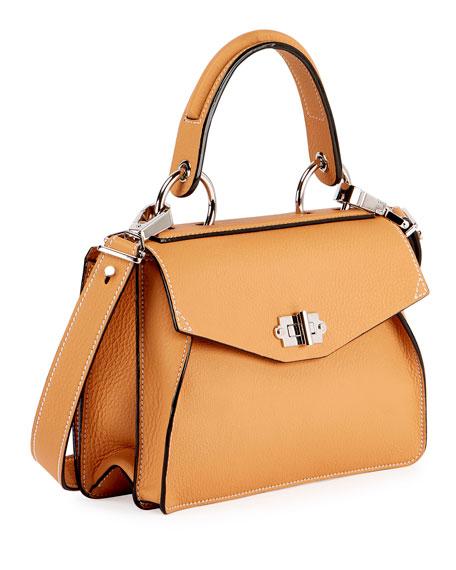 Hava Small Leather Top-Handle Satchel Bag, Toast