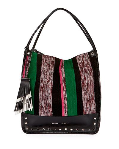 Woven Medium Stripe Tote Bag, Multi