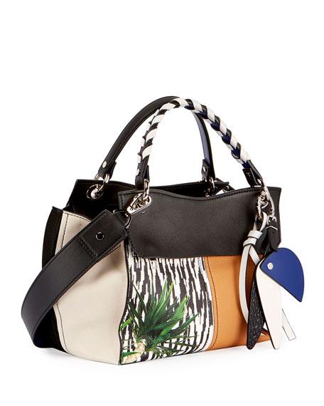 Curl Mix-Print Satchel Bag, Black/Multi
