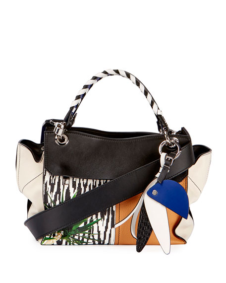Proenza Schouler Curl Mix-Print Satchel Bag, Black/Multi