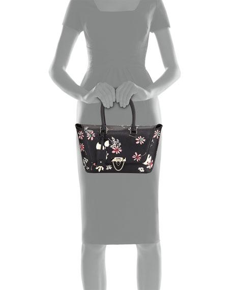 Demilune Floral-Print Double-Handle Small Satchel Bag