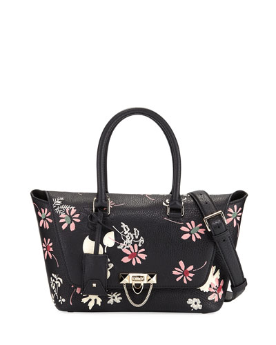 Demilune Floral-Print Double-Handle Small Satchel Bag