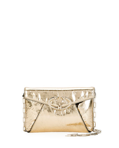 V Rivet Metallic Leather Clutch Bag, Gold