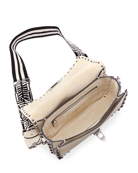 Guitar Rockstud Rolling Shoulder Bag, Ivory