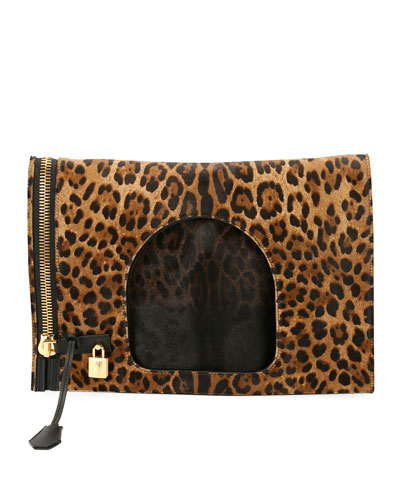 Alix Leopard-Print Padlock & Zip Fold-Over Bag