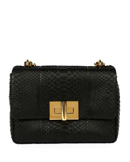 Natalia Large Santiago Python Shoulder Bag, Black