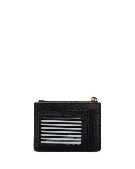 cameron street mellody saffiano card case, black