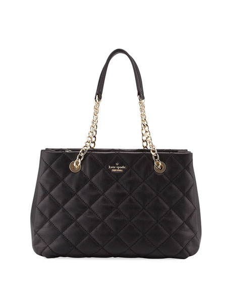 emerson place allis quilted tote bag, black