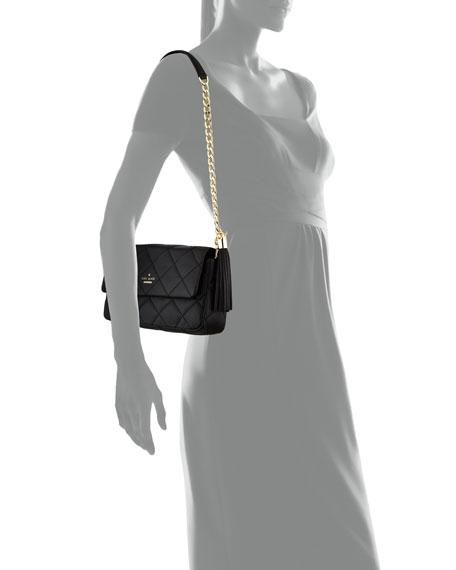 emerson place serena quilted shoulder bag, black