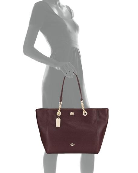 Turn-Lock Chain Pebbled Tote Bag