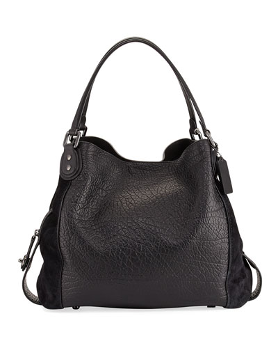 Edie 42 Mixed Leather Shoulder Bag, Black