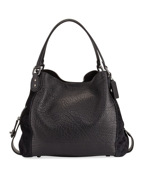 Coach Edie 42 Mixed Leather Shoulder Bag, Black