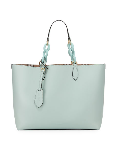 Burberry Haymarket Medium Reversible Tote Bag, Light Blue/Check