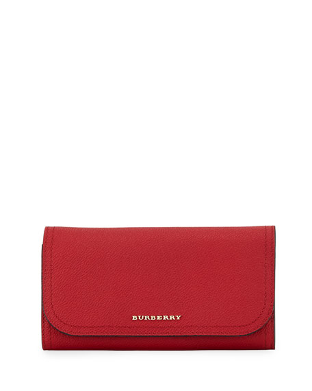 Burberry Kenton Soft Grain Leather Wallet, Red