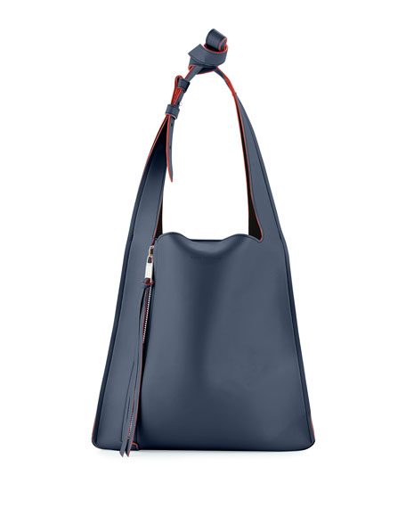 Elena Ghisellini Estia Small Leather Tote Bag, Navy