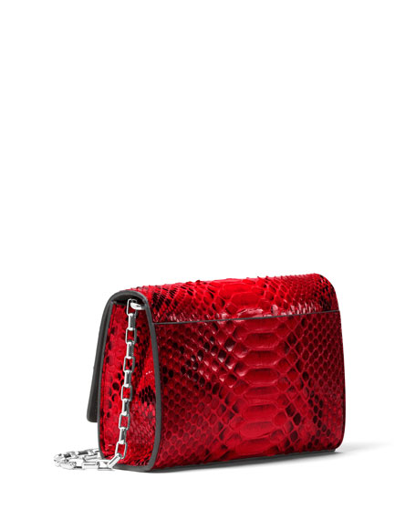 Yasmeen Python Clutch Bag, Red