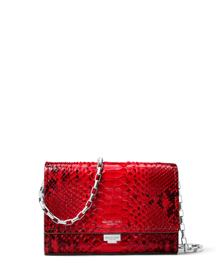Michael Kors Yasmeen Python Clutch Bag, Red