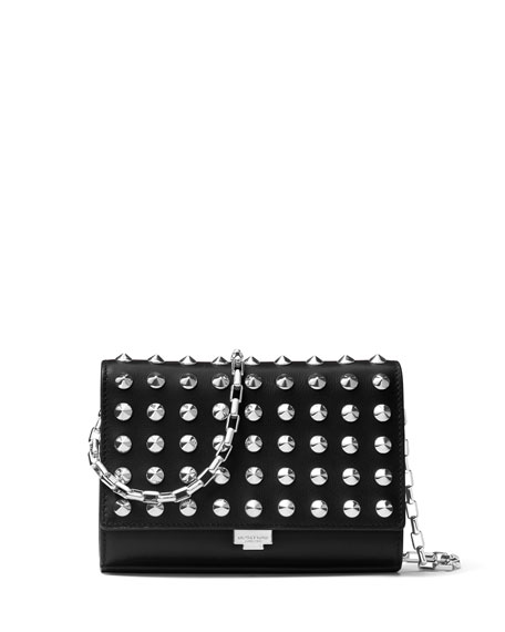 Michael Kors Yasmeen Studded Clutch Bag, Red
